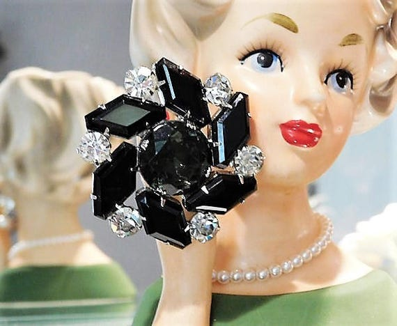 Mid Century Rhinestone Brooch Classic Hollywood Regency Jet Black Glass Crystal Chatons Christmas Winter Wedding 1960s Fashion Jewelry