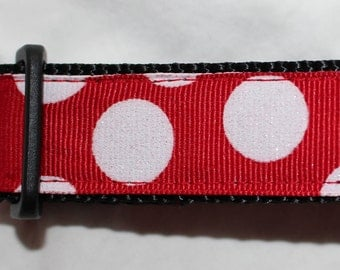 "1"" Red and White Dot Dog Collar - Side Release Buckle"