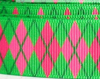 "Pink and Lime Argyle Dog Collar - Side Release Buckle (1"" Width) - Martingale Option Available"