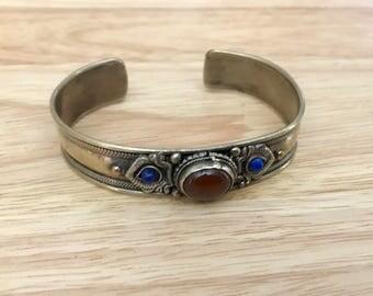 Carnelian Lapis Cuff Bracelet
