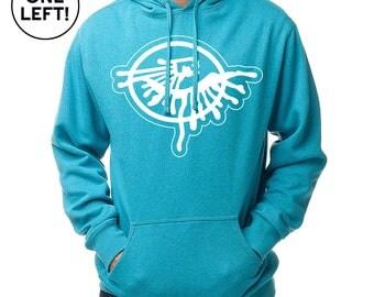 Heather Turquoise Logo Hoodie  / Medium Weight / Sweatshirt / Blue Hoodies / Pullover Hoodie  / Third Eye / Abstract / Psychedelic Clothing