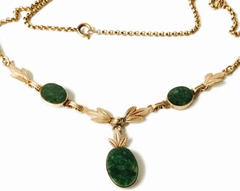 Vintage Spinach Jade and Gold Filled Necklace 1950s Jade and GF Chain Necklace