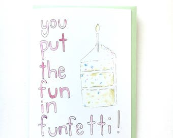 funfetti birthday card, birthday cake for her, sprinkles note card, vanilla birthday cake card, friend birthday card, cake paper goods