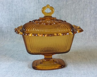 Vintage Indiana Amber Glass Lace Edge Footed Candy Dish with Lid, Ribbed Glass Covered Dish