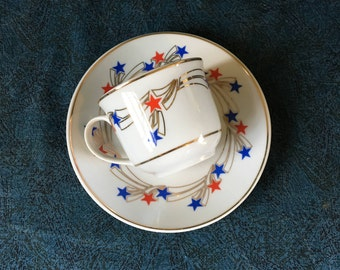 Vintage Patriot Teacup and Saucer, Red and Blue Stars, Americana