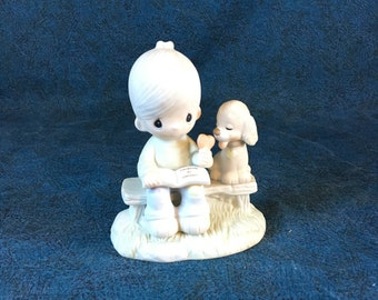 "Vintage Precious Moments Figurine, ""Loving is Sharing"" 1979, Jonathon and David"