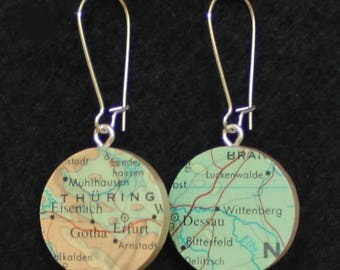 Martin Luther Germany Cities Handmade Recycled Map Earrings