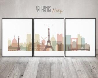 Paris 3 pieces Posters Art Prints by ArtPrintsVicky
