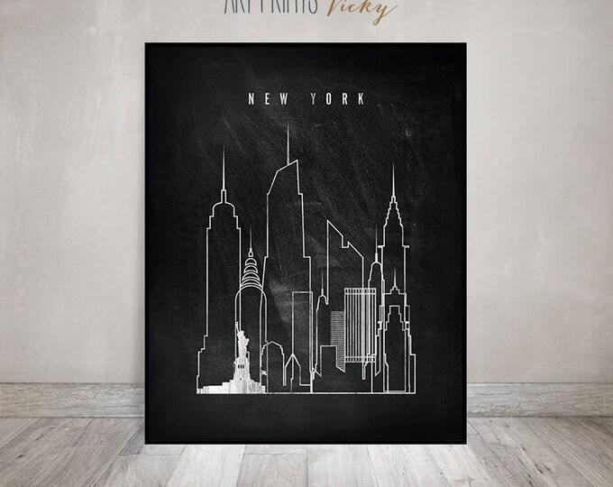 Travel poster New York skyline art, print, Black and white art, Travel gift, Wall art, City art, chalkboard art, Home Decor, ArtPrintsVicky
