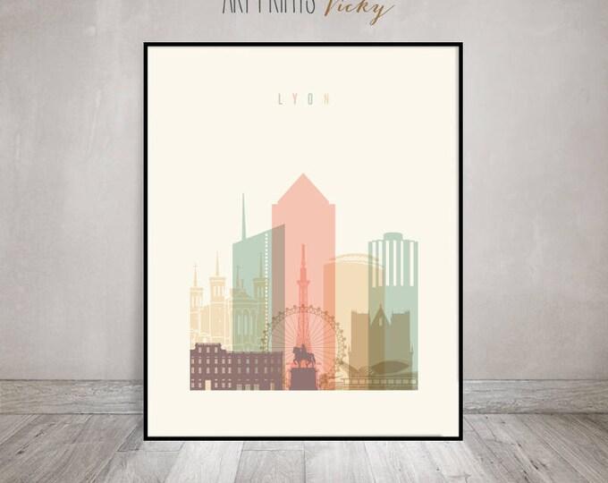 Lyon art print, Lyon poster, Lyon wall art, Lyon skyline, Travel poster, travel gift, City poster, Home Decor, ArtPrintsVicky