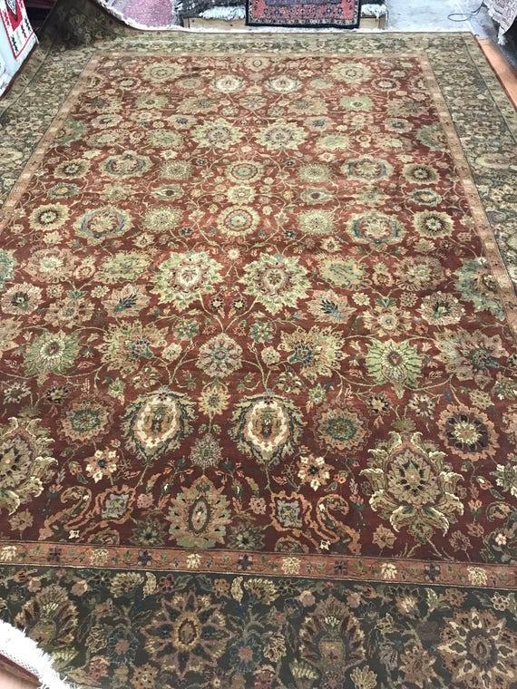 "10' x 14'6"" Indian Agra Oriental Rug - Full Pile - Hand Made - 100% Wool"