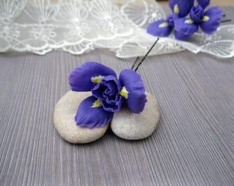 Iris flower hair accessory Floral hair piece Summer wedding hair pin Rustic wedding headpiece Bridal hair pin Flower hair jewelry Hair vine