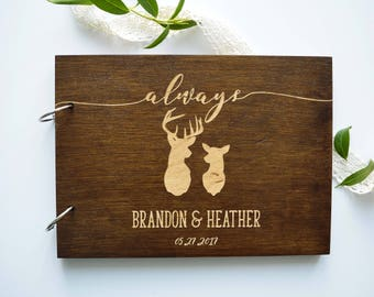 Wedding guest book with deer Harry Potter wedding Custom guest book with names and date Always Harry Potter wedding gift Rustic guest book