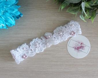 DELICATE PINK | Soft pink wedding garter, bridal garter, garter belt