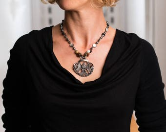 Vintage Eagle Medallion with Vintage Buttons on Faceted Black, Mother-of-Pearl, Freshwater Pearl and Crystal Necklace