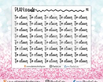 To Clean Script Word Planner Stickers, Functional planner stickers -142