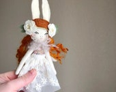 """Petite Heirloom Doll about 9.7""""inches tall, Girl Bunny Doll, Handmade Cloth Doll, Coppery Redhead and speckled cotton fabric,"""