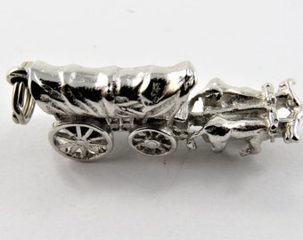 Covered Wagon Being Pulled By Two Oxen Sterling Silver Charm of Pendant.