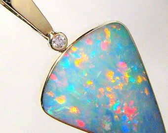 17.7ct 14k Gold BIG Australian Genuine Opal & Diamond Pendant Jewelry Gift #619