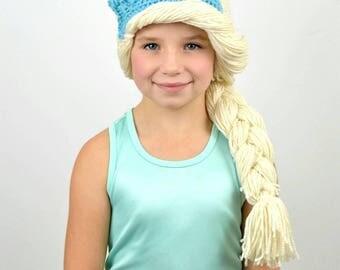 Crocheted Elsa Hat - Handmade Elsa Hat - Crocheted Elsa Hat Costume - Girls Halloween Hat Costume - Princess Hat with hair