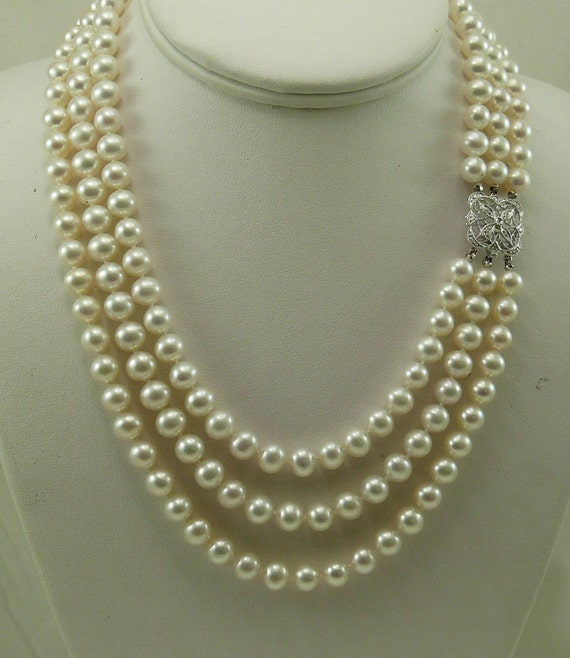 Freshwater White Pearl Triple Strand Necklace 14k White Gold and Diamond 0.07ct