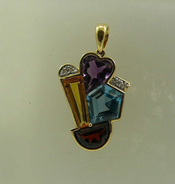 Multi-Color 7.0ct Gemstone Pendant 14K Yellow Gold and Diamonds 0.03ct