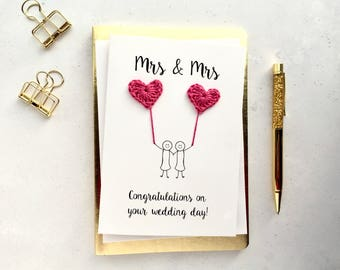 Mrs & Mrs card - Wedding card - Bride and Bride card - Gay wedding card - Lesbian wedding card - White card