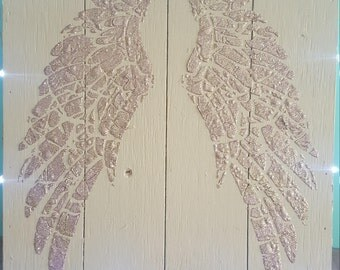 Angel Wings on wooden box frame