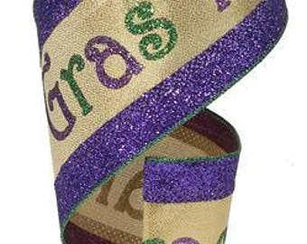 WIRED RIBBON - Ribbon - Purple and Gold - Purple Ribbon - Mardi Gras - Wreath - Floral - RG8683