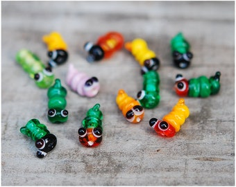 Lampwork set of 5 caterpillar worm beads Focal Animal Glass Bug flamework jewelry making artisan Miniature fairy gardenTerrarium decoration