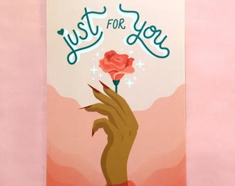 """Just For You Art Print - 4""""x6"""" Art Print, Rose, Lettering Print, Valentines Print, Romance, Gifts Under 5 - The Bettys x Over it Collab"""