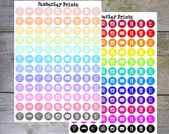 Rainbow Mini Icons // Home/Work/Finance/Social Media Assorted Icons Sheet // F4/F5