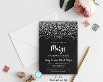 Bachelorette Party Invitation, Bachelorette Party Invitation Template, You Edit, Bridal Shower Template, Bachelorette Weekend, Hens Night