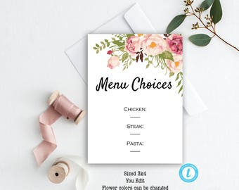 Menu Choices Card Template Floral Wedding Rustic