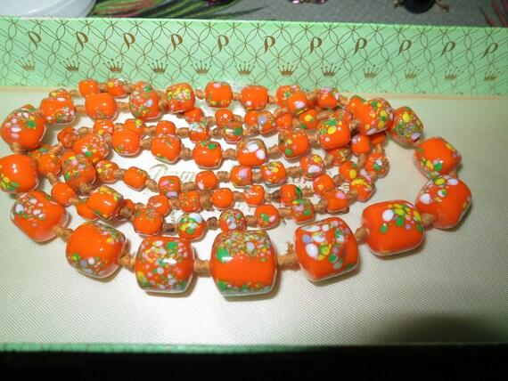 "A gorgeous vintage Art Deco long necklace of mottled  orange mosaic glass beads 36"""