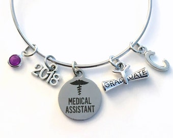 Medical Assistant Bracelet, 2017 or 2018 MA Graduation Gift for Student Grad, Silver charm Bangle letter Personalized custom Jewelry her