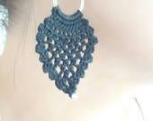 Crochet earrings, crochet jewelry, handmade jewelry, black earrings, pineapple earrings, long earrings