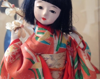Vintage Artisan Japanese Hinaningyo Hina Girl's Day Gofun Doll on Stand Glass Eyes FlowersTraditional Silk Costume Paper Label Made in Japan