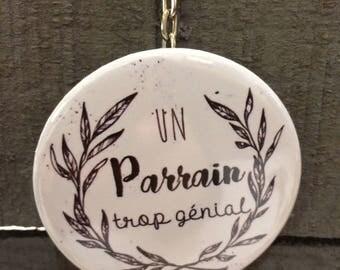 """Porte-clés Décapsuleur message spécial """"parrain tro génial"""""""