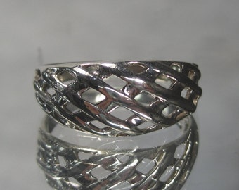 Vintage Sterling Silver Band Ring Sz 6.75 M37