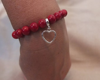 Semi precious stones bracelet, red coral beads with sterling silver heart pendant