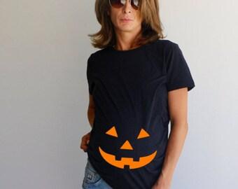 Halloween Pumpkin Face Maternity Shirt , Maternity Shirt , Jack O Lantern Maternity ,Funny Maternity Shirt , Halloween Maternity Shirt