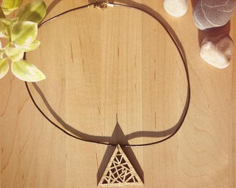 Gold Geometric Wooden Triangle Necklace / Laser Engraved Wood With Brown Leather Cord And Bronze Findings