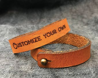Mens Leather Bracelet for Wedding gift for boyfriend, Personalised Mens gift, Wedding day gift for men, Custom bracelet for men