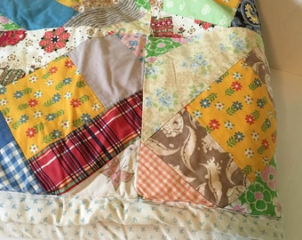 Full queen shabby patchwork quilt - Vintage cotton quilt - Patchwork quilt - Handmade old quilt - Old quilt - Multi colored patchwork quilt