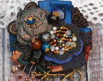 Blue Brown Grey brooch Textile brooch Handmade brooch Boho womens brooch Flower fabric brooch Bohemian style Rustic brooch Gift for her