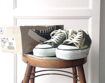 Vintage 1990s Converse Chuck Taylor All Star Canvas Olive Camo Shoe Made In USA US9