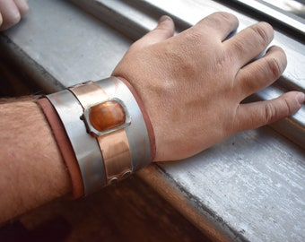Industrial Steampunk inspired Copper Gem bracelet