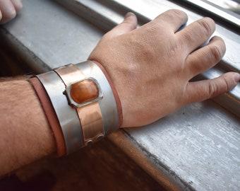Industrial Steampunk inspired Copper Gem bracelet