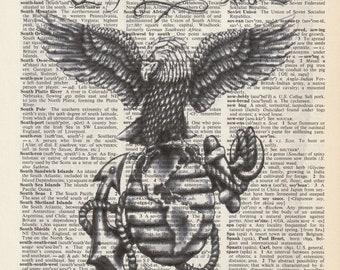 Dictionary Art Upcycle USMC Semper fidelis